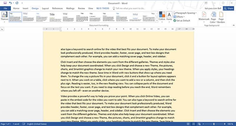 มาเปลี่ยน Theme และสีพื้นกระดาษใน MS Word เพื่อถนอมสายตากัน